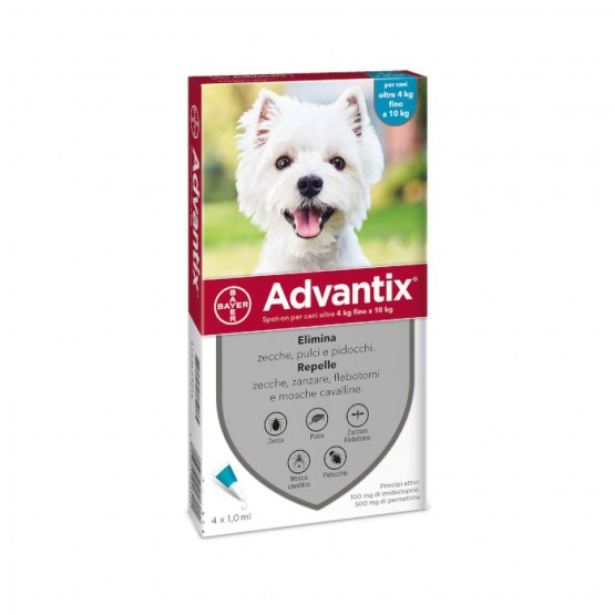 Advantix Spot On Antiparassitario Per Cani 4-10 Kg 4 Pipette